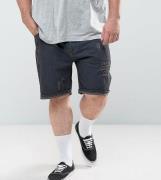 Shorts vaqueros de corte slim en negro con roturas de ASOS DESIGN Plus