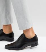 Zapatos Oxford negros de cuero con puntera de ASOS Wide Fit