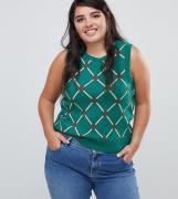 Camiseta de tirantes de conjunto con estampado de rombos de ASOS DESIG...