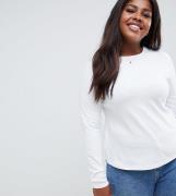 Top de manga larga y cuello redondo en blanco Ultimate de ASOS DESIGN ...